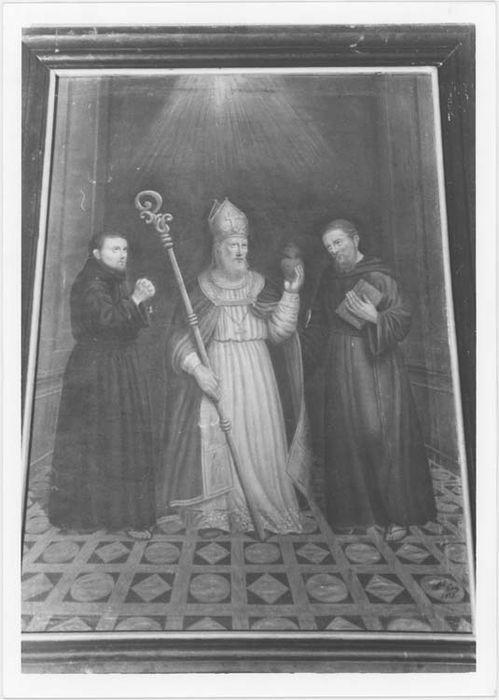 tableau : saint Augustin entouré de deux moines, vue générale