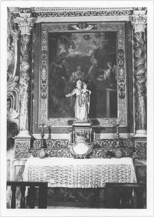 Autel et retable de la chapelle Saint-Joseph et son tableau : La Mort de Saint Joseph et son devant d'autel