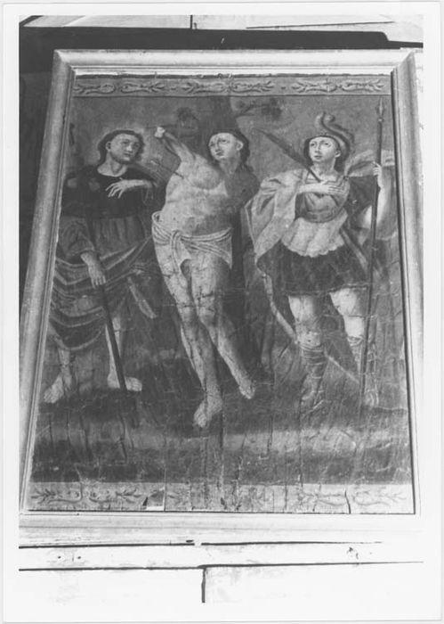 Tableau : saint Sébastien entouré de saint Roch et de saint Pancrace