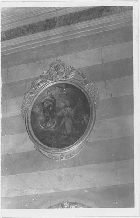 Tableau et son cadre : Saint Isidore de Madrid aux pieds de la Vierge
