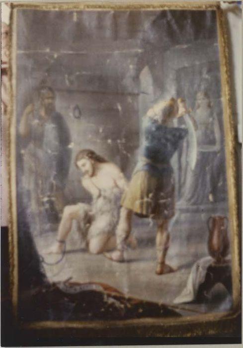 élément de bannière de procession : la Décollation de saint Jean-Baptiste, vue générale