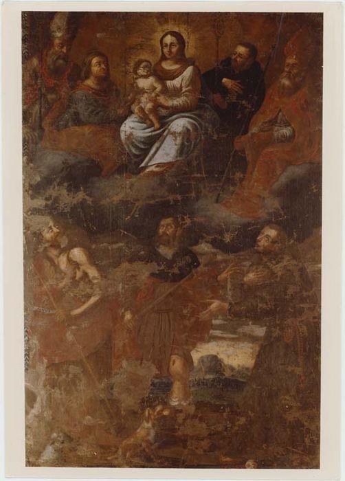 tableau : saint Roch entre saint Jean-Baptiste et saint François d'Assise et dans le Ciel, la Vierge à l'Enfant entourée des saints Honorat, Anne, Benoit et Brice, vue générale