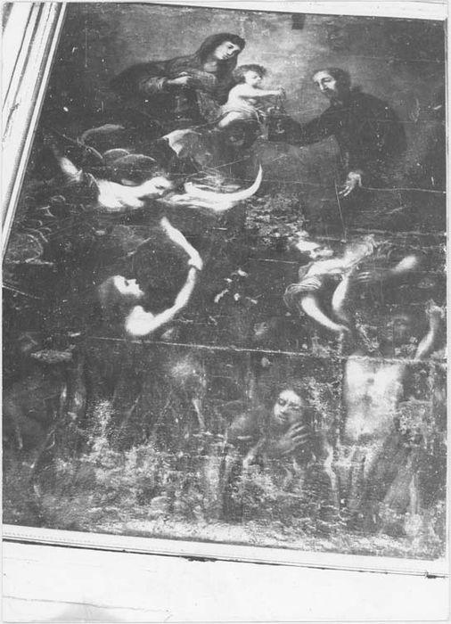 Tableau et son cadre (encadrement) : Notre Dame du Mont Carmel et les Ames du Purgatoire