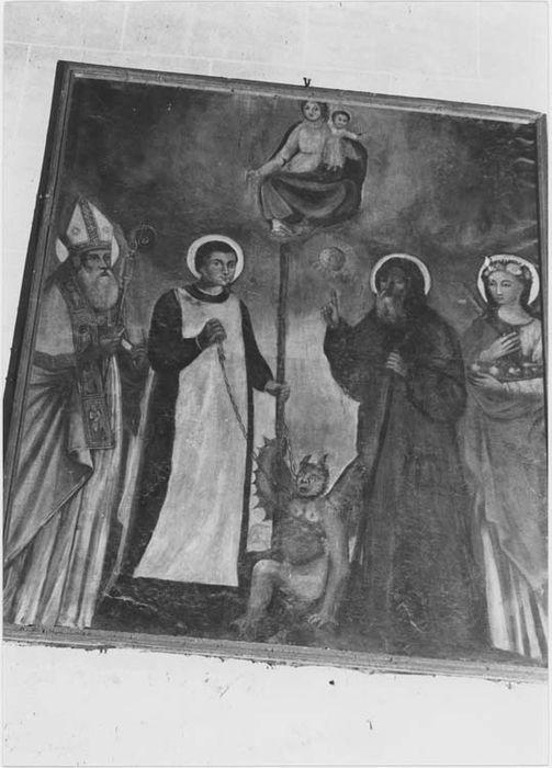tableau et son cadre : saint Bernardin de Sienne, saint Bernard de Menton, saint évêque et sainte Agathe aux pieds de la Vierge, vue générale