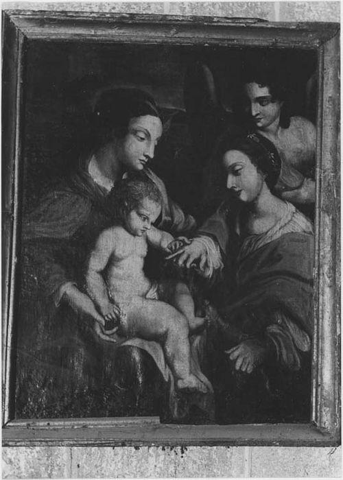 tableau et son cadre : le Mariage mystique de sainte Catherine, vue générale