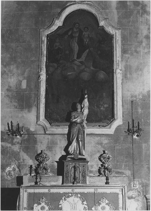 tableau et son cadre : la Vierge du Carmel donnant le scapulaire et les âmes du Purgatoire, vue générale