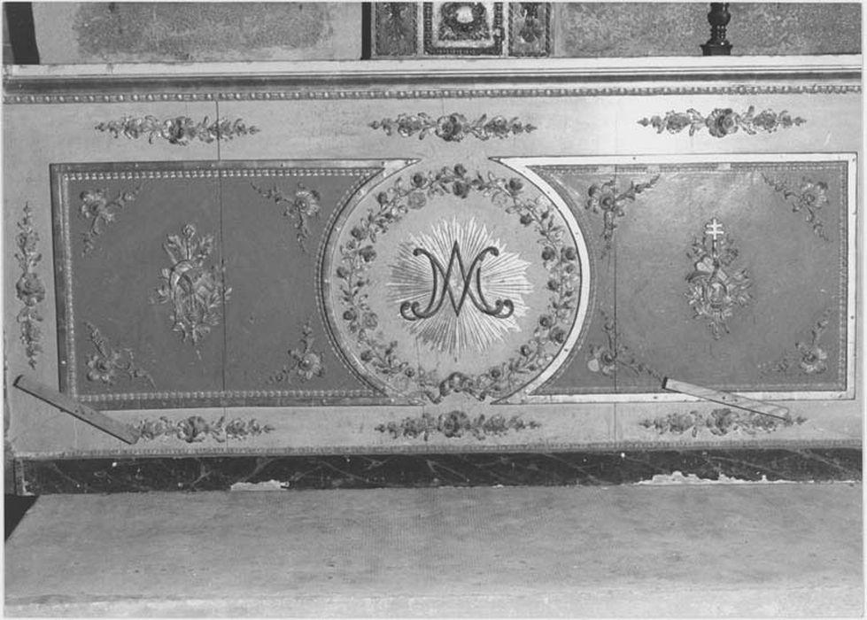 devant d'autel au monogramme de la Vierge, vue générale