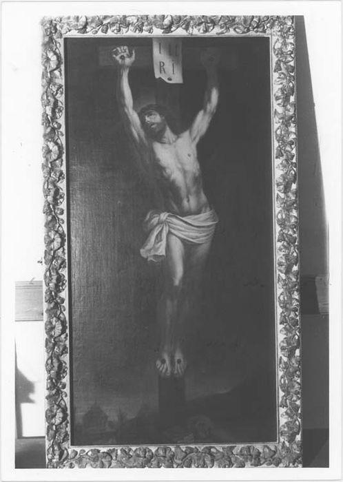 tableau et son cadre : le Christ en croix, vue générale