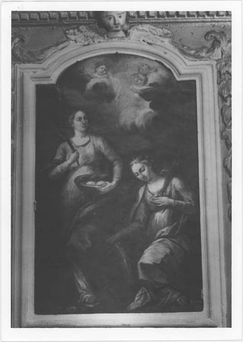 Tableau et son cadre : Sainte Agathe et Sainte Catherine