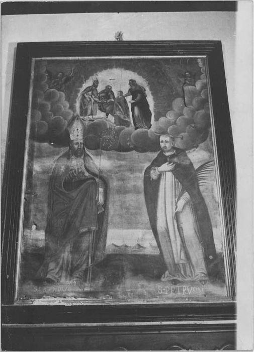 tableau et son cadre : saint Lazare évêque et saint Pierre de Vérone, vue générale