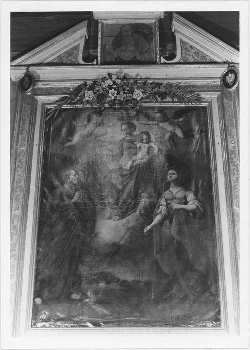Retable avec tableau d'autel : la Vierge entourée de sainte Lucie et de saint Pierre