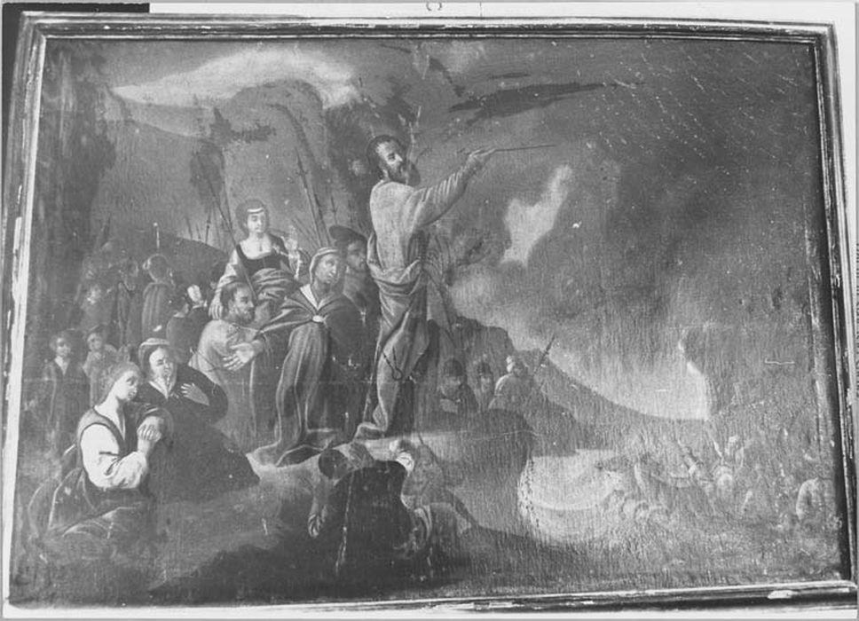 Tableaux et leurs cadres, en pendant : le passage de la Mer Rouge et la reconnaissance d'Abraham