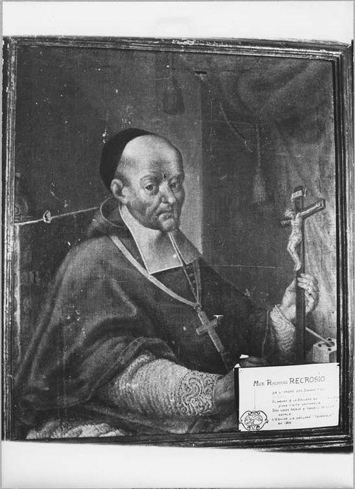 Tableau et son cadre : portrait de Monseigneur Recrosio, évêque de Nice (1727-1732)