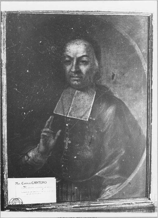 Tableau et son cadre : portrait de Monseigneur Cantono, évêque de Nice (1741-1763)