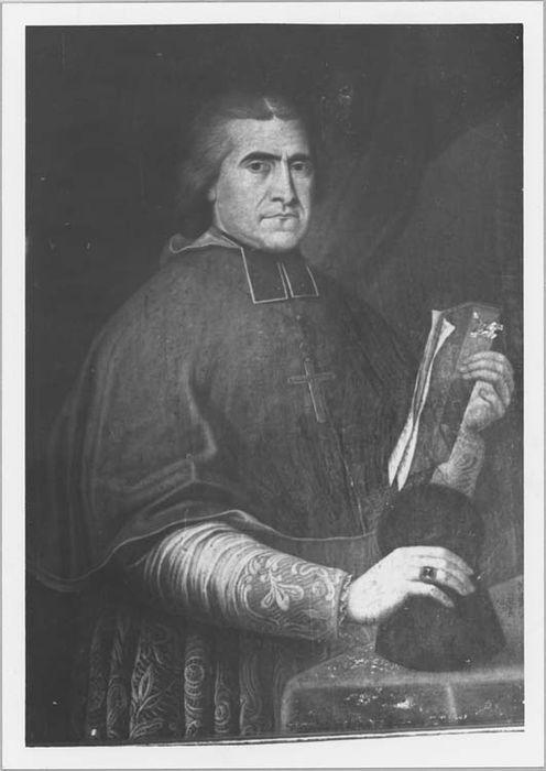 Tableau et son cadre : portrait de Monseigneur Galvano, évêque de Nice (1833-1857)