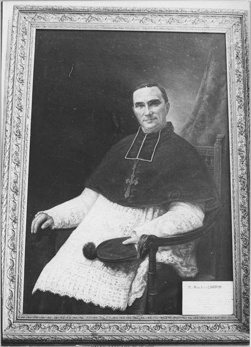 Tableau et son cadre : portrait de Monseigneur Henri Chapon, évêque de Nice