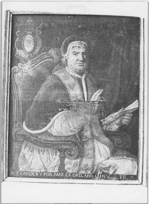Tableau et son cadre : portrait du pape Alexandre V