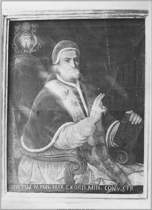 Tableau et son cadre : portrait du pape Sixte IV