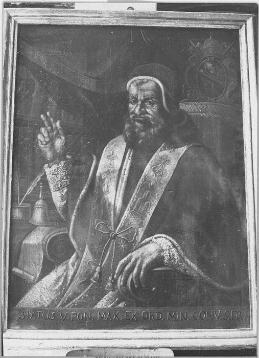 Tableau et son cadre : portrait du pape Sixte Quint