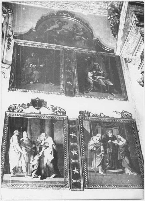 13 tableaux et leurs cadres ornant les murs latéraux du choeur : scènes de la vie de la Vierge et de l'Ancien Testament