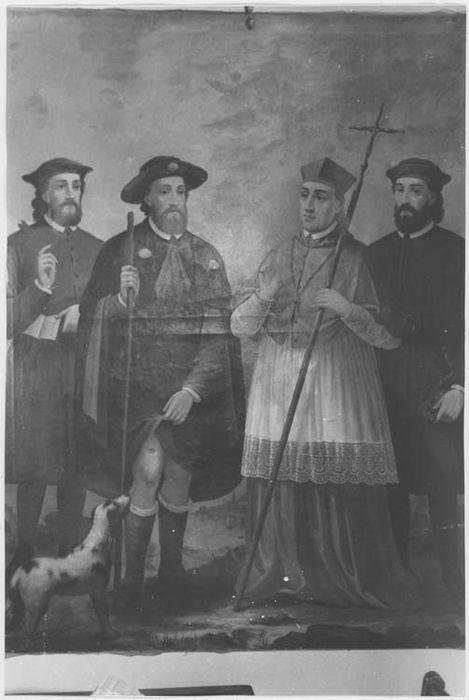 Tableau : saint Roch, saint Charles Borromée et deux saints protecteurs