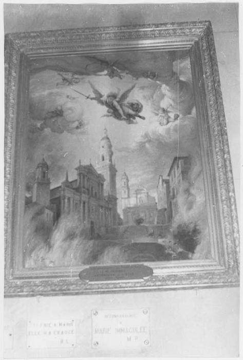 Tableau ex-voto : la ville de Menton protégée par saint Michel pendant la deuxième guerre mondiale