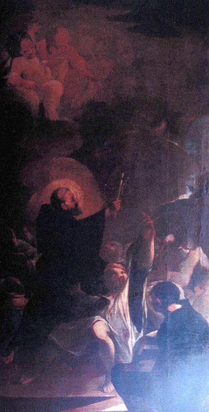 Tableau, cadre : Saint Benoît exorcisant un possédé du démon