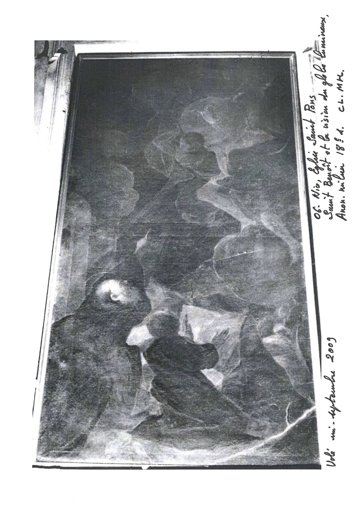 Tableau, cadre : Saint Benoît et la vision du globe lumineux