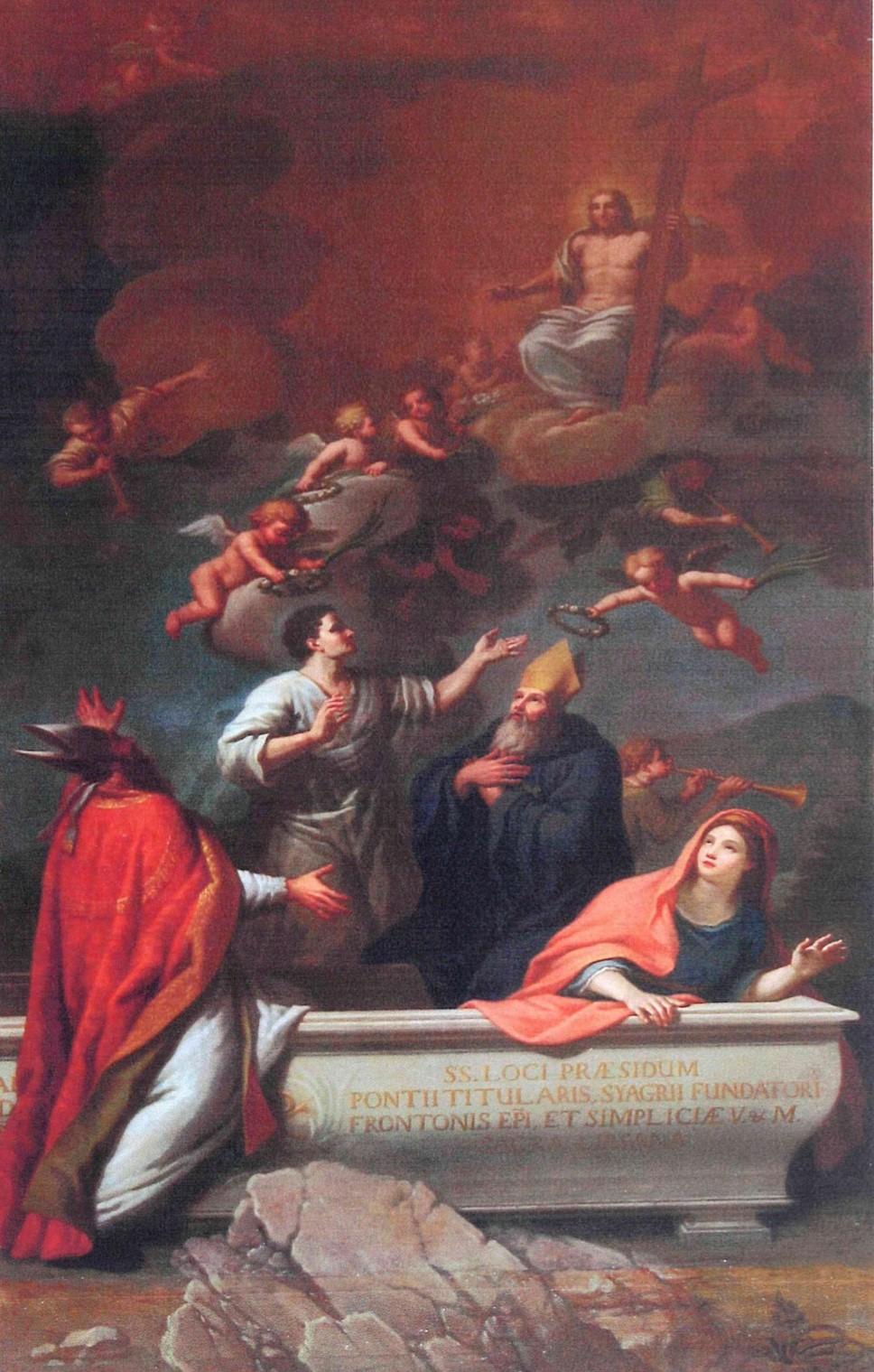 Tableau, cadre : Saint Pons, saint Front, sainte Simplicie et saint Syagre, avec le Christ dans les nuées