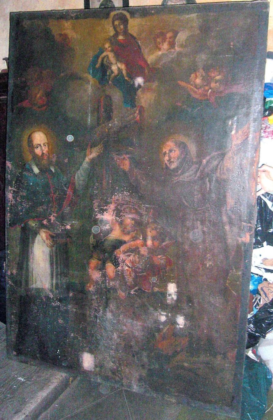 Tableau : Saint François de Sales et saint Bernard aux pieds de la Vierge