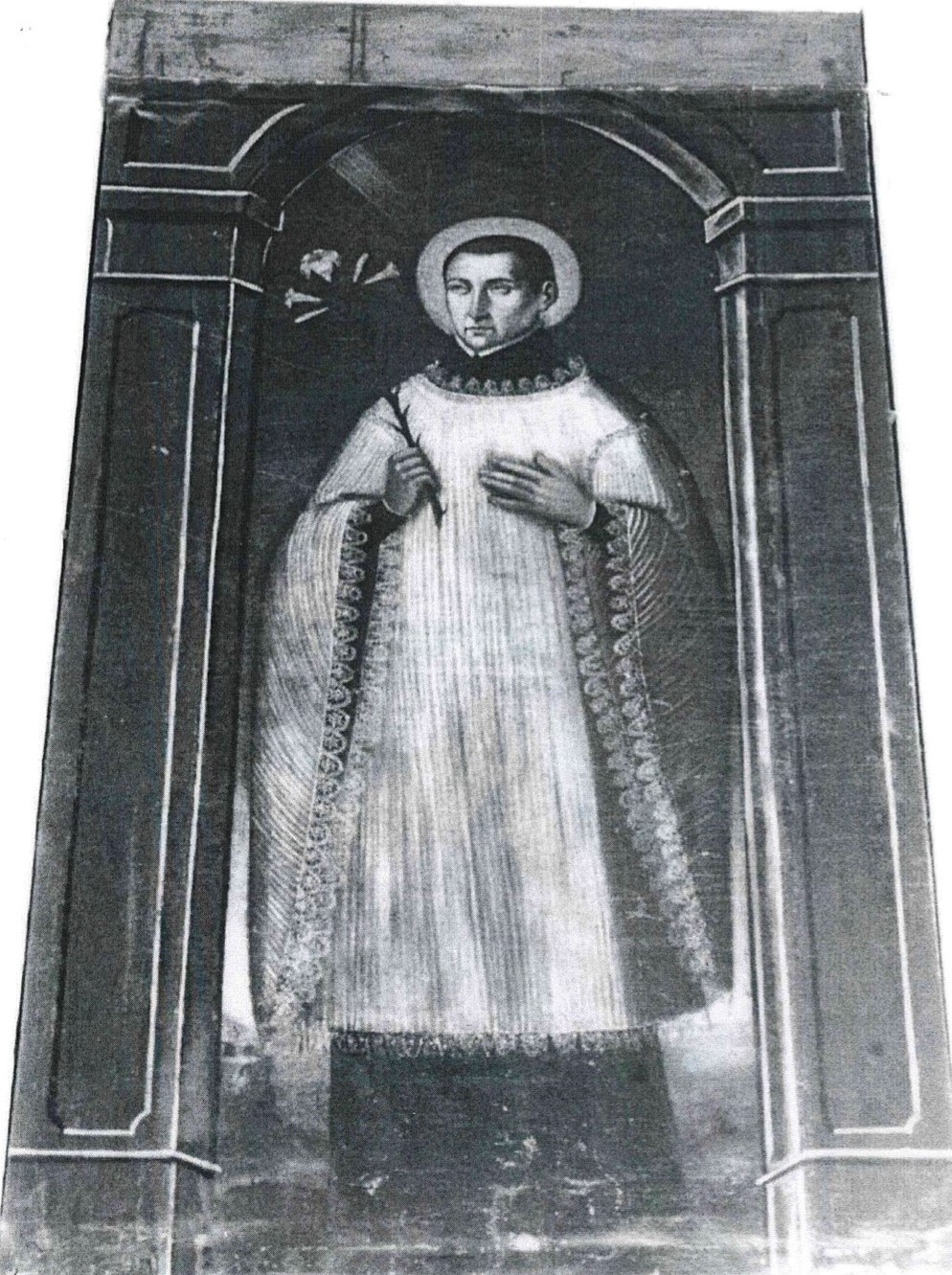 Tableau et son encadrement : saint Louis de Gonzague