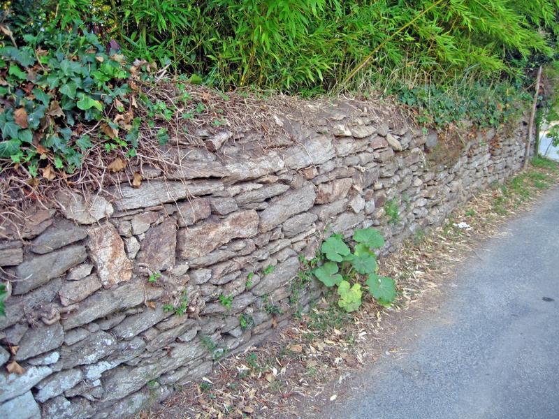 Mur de clôture. Chaperon en talus.