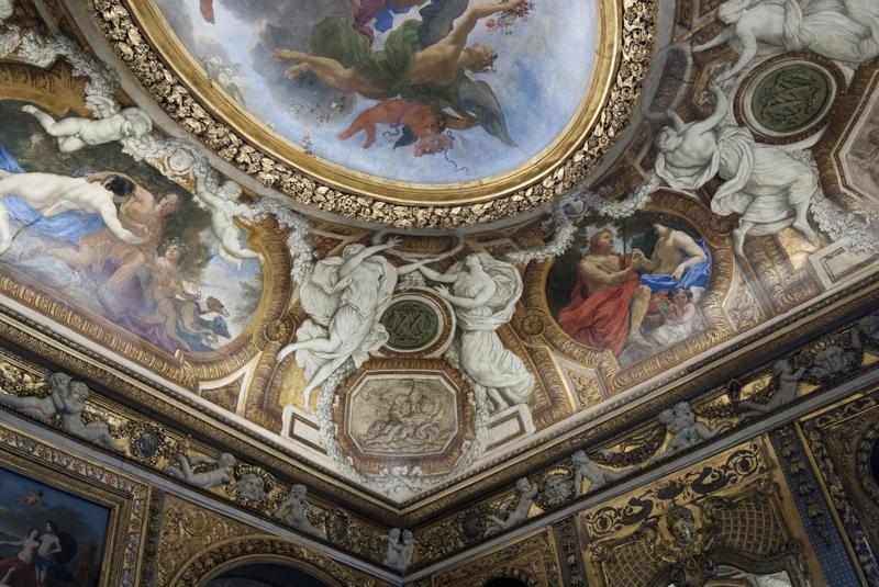 Chambre de Parade. Plafond à voussures, angle sud-ouest, vue des décors peints.
