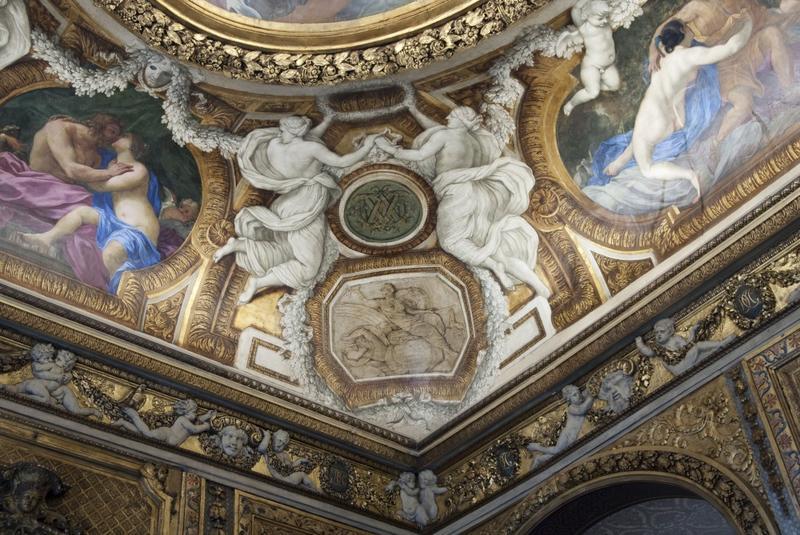 Chambre de Parade. Plafond à voussures, angle sud-est, vue des décors peints.