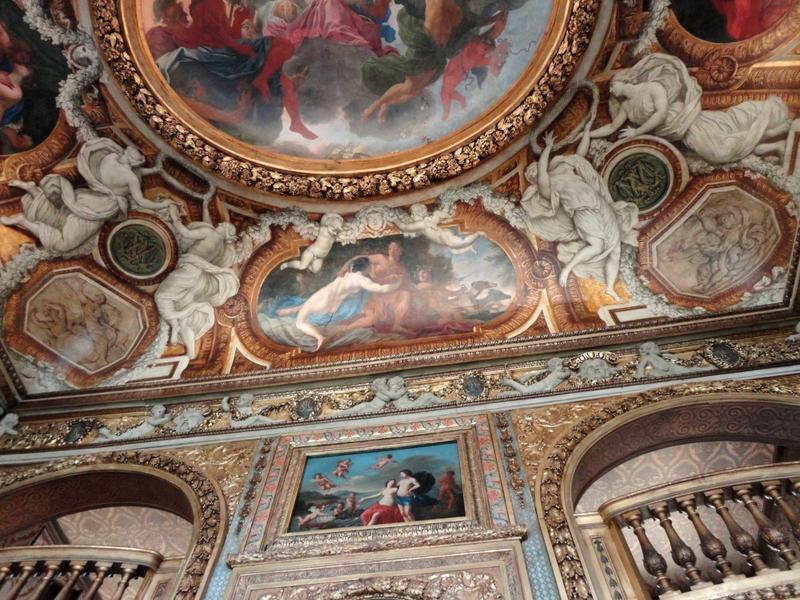 Plafond à voussures, côté sud, vue des décors peints.