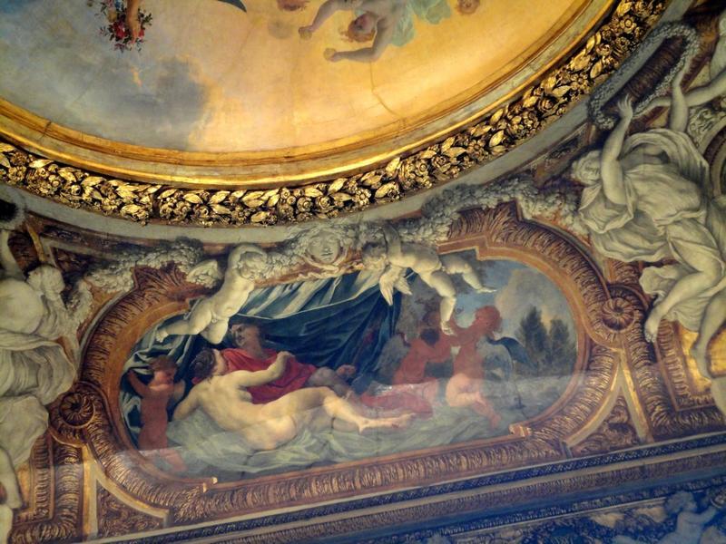 Plafond à voussures, côté nord, vue des décors peints.