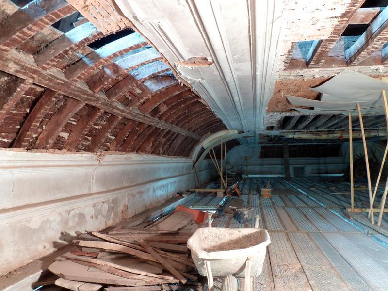Plafond à voussures, vue vers l'ouest.