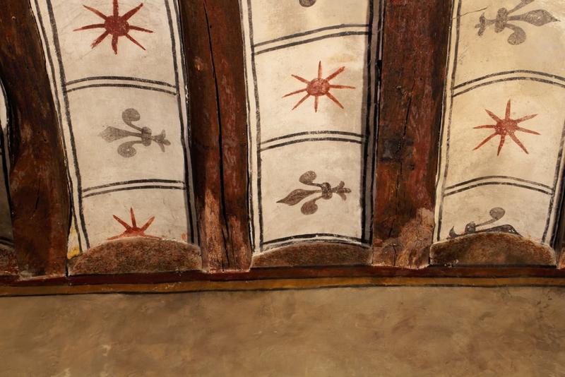 Plafond à entrevous en plâtre  peint; détail