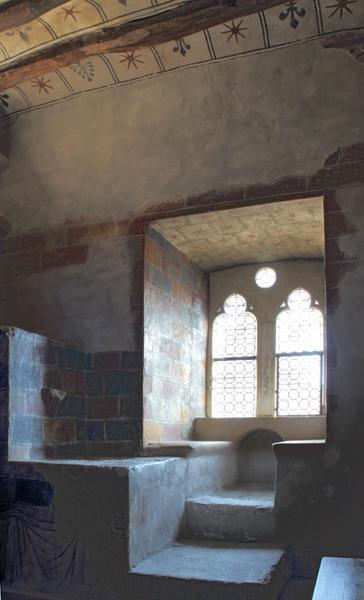 Fenêtre, coussièges, dessus d'escalier servant à la consultation de documents