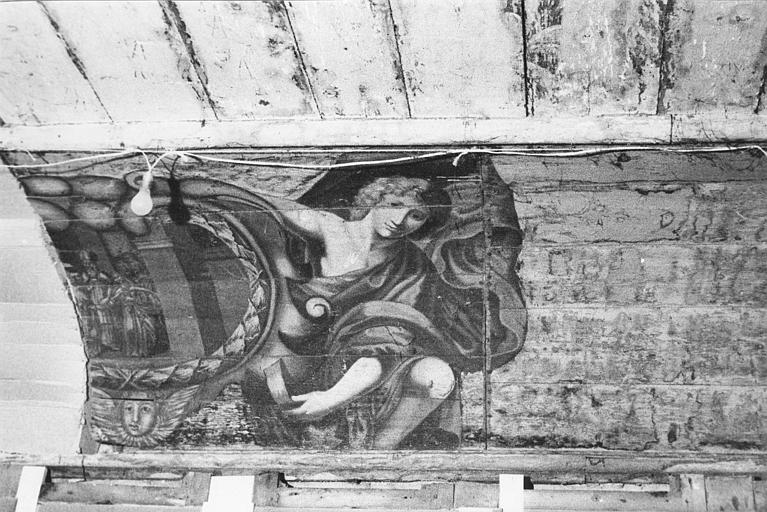 Peinture monumentale : fragment, Le mariage de la Vierge, scène peinte dans un cartouche tenu par un personnage, peinture sur panneaux de bois