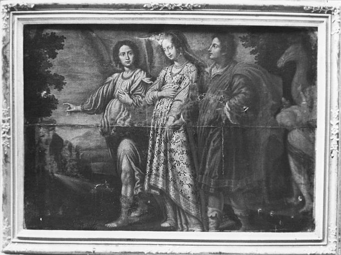 Tableau : Sarah et Tobie accompagnés par l'archange Raphaël, huile sur toile