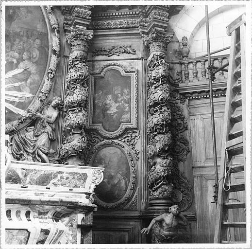 Autel, retable, tableaux (2) : 'La Naissance de la Vierge', 'L'Adoration des bergers', huiles sur toile (détail)
