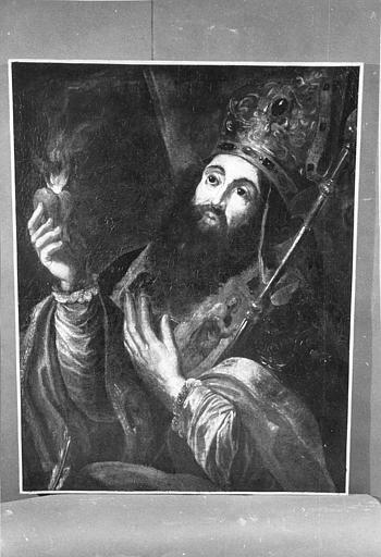 Tableau : Saint Augustin (?), évêque barbu tenant un coeur enflammé, huile sur toile, sans le cadre