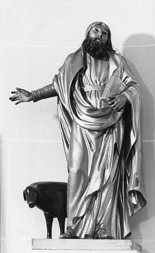Groupe sculpté : 'Saint Antoine et son cochon', bois sculpté, peint, doré