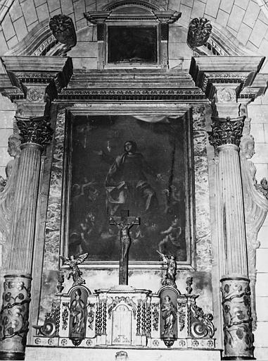 Retable, tabernacle, statuettes (4), tableau : 'L'Assomption', retable et tabernacle architecturés ; avant restauration