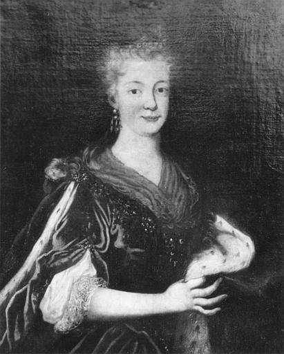 Tableau : 'Portrait présumé de la princesse d'Harcourt', en buste, manteau bordé d'hermine, huile sur toile