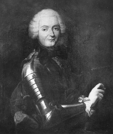 Tableau : 'Portrait d'un militaire', en buste, vêtu d'une armure