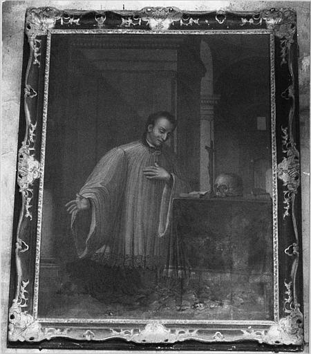 Tableau, cadre : 'Saint Louis de Gonzague en prière', huile sur toile, cadre en bois sculpté et doré