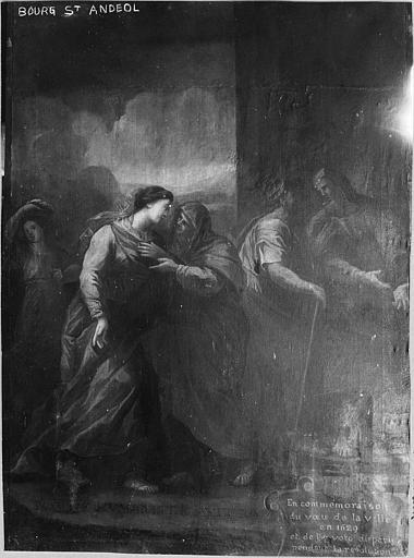Tableau : 'La Visitation', huile sur toile ; avant restauration