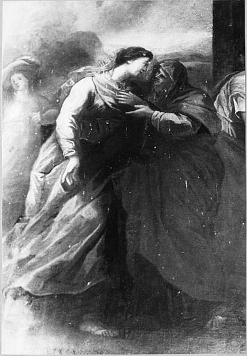 Tableau : 'La Visitation', détail de la scène centrale avec la Vierge et sainte Elisabeth, huile sur toile ; avant restauration